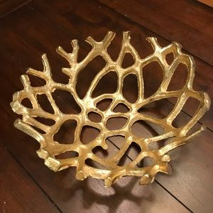 Gold Coral Decorative Bowl Accent Beach House